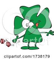 Cartoon Lucky Clover Character Rolling Dice