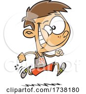 Cartoon Track And Field Boy Running