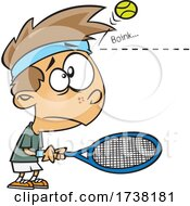 Cartoon Boy Being Bonked On The Head By A Tennis Ball