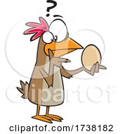 Cartoon Chicken Pondering Over An Egg And Which Came First