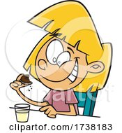 Cartoon Girl Eating A Cookie With Milk