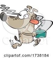 Cartoon Dog Running Away With A Pot Of Food