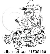 Cartoon Black and White Mexican Operating a Mower by LaffToon #COLLC1738188-0065