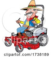 Cartoon Mexican Operating a Mower by LaffToon #COLLC1738189-0065