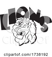Black And White Lion Mascot Head Under Text by Johnny Sajem