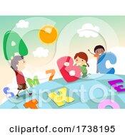 Stickman Kids Board Game Big Letters Illustration