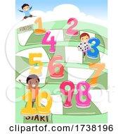 Stickman Kids Board Game Numbers Illustration