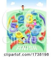 Stickman Kids Maze Numbers Play Illustration