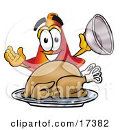 Clipart Picture Of A Traffic Cone Mascot Cartoon Character Serving A Thanksgiving Turkey On A Platter by Toons4Biz