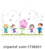 Stickman Kids Spring Season Dancing Flower