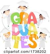 Stickman Kids Students Graduates Illustration