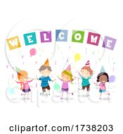 Stickman Kids Welcome Party Balloons Illustration