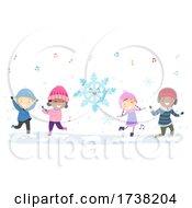 Stickman Kids Winter Season Dancing Snowflake