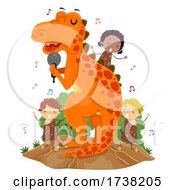 Stickman Kids Trex Dinosaur Singing Illustration