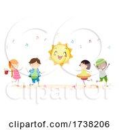 Stickman Kids Summer Season Dance Illustration