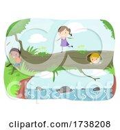 Stickman Kids Tree Trunk Bridge Play Illustration