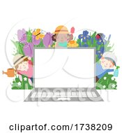 Poster, Art Print Of Kids Gardeners Laptop Flowers Insects Illustration