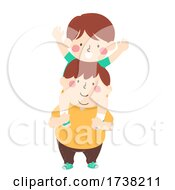 Kids Boys Brothers Sit Shoulder Illustration