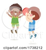 Kids Boys Play Basketball Shoot Illustration