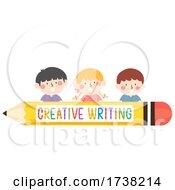 Kids Creative Writing Pencil Border Illustration