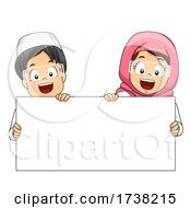 Kids Muslim Hold Blank Board Illustration