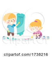Kids Paint Wall Room Rollers Cans Illustration