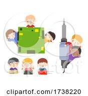 Kids Robotics Computer Borders Chips Illustration