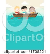 Kids Rowing Boat Lake Background Illustration