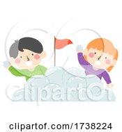 Kids Snow Ball Battle Base Flag Illustration