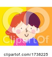 Kids Girl Boy Half Dual Illustration