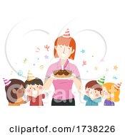 Kids Girl Teacher Birthday Cake Illustration