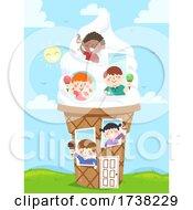 Kids Ice Cream House Sundae Illustration