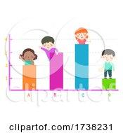 Kids Colorful Bar Graph Waving Illustration