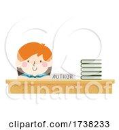 Kid Boy Author Stack Books Signing Illustration