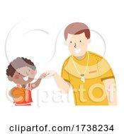 Kid Boy Basket Ball Coach Fist Bump Illustration