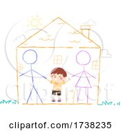 Poster, Art Print Of Kid Boy Draw Chalk Parents Home Happy Illustration