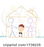 Kid Boy Draw Chalk Parents Home Happy Illustration