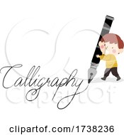 Kid Boy Fountain Pen Calligraphy Illustration