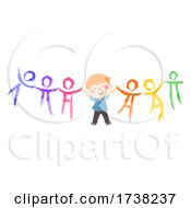 Kid Boy Hold Hands Chalk People Illustration
