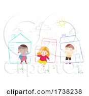 Kids Draw Chalk Houses Sky Grass Illustration
