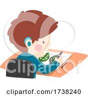 Kid Boy Deaf Leaf Carving Workshop Illustration