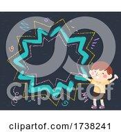 Kid Boy Draw Chalk Burst Speech Bubble Frame