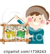 Kid Boy Deaf Leaf Art Frame Making Illustration