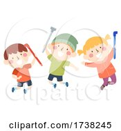 Kids Group Play Pipes Illustration