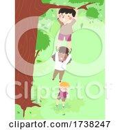 Kids Hang Cling Tall Tree Illustration