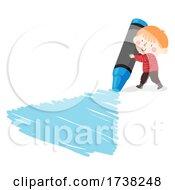 Kid Boy Blue Crayon Scribble Illustration