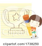 Kid Boy Big Pencil Paper Draw Trophy Illustration by BNP Design Studio #COLLC1738250-0148