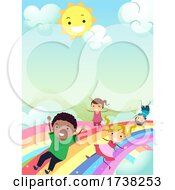 Stickman Kids Slide Rainbows Sun Illustration