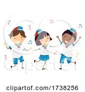 Poster, Art Print Of Stickman Kids Sailors Dancing Music Illustration