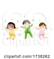 Poster, Art Print Of Stickman Kids Pajama Dancing Illustration
